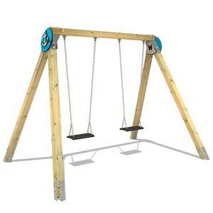 Holz-Schaukel WICKEY PRO MAGIC Atol für den öffentlichen Kinder-Spielplatz - Edelstahl - Ideal geeignetes Schaukelgerüst für Kindergarten, Schwimmbad, Schule, Restaurant, Ferienpark & Campingplatz