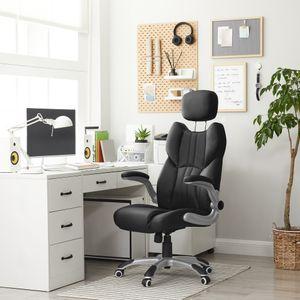 SONGMICS Bürostuhl Chefsessel schwarz Schreibtischstuhl ergonomischer Drehstuhl mit klappbaren Armlehnen bis 150 kg belastbar OBG65BK