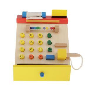 Kinder Holz Simulation Registrierkasse Kasse Pretend Game Toys