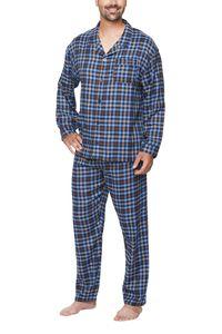 Langer Herren Schlafanzug , Farbe:Flanell blau, Gr. :XL - 54