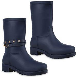 Mytrendshoe Damen Gummistiefel Nieten Metallic Stiefel Regen Schuhe 812770, Farbe: Blau, Größe: 39
