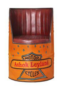 SIT Möbel Sessel | recyceltes Ölfass | Metall orange | Kissen Kunstleder-Optik braun | B 55 x T 55 x H 90 cm | 01054-61 | Serie THIS & THAT