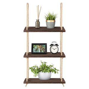 WISFOR Hängeregal Holz, 3 Ablagen, Seil Regal, Wandregal, Wohnzimmer, Küche, Badzimmer Deko,Pflanzen
