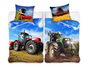 Wende Bettwäsche Set 135x200 80x80cm 100% Baumwolle Traktor Landmaschine