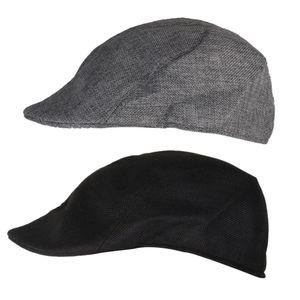 2xUni Flachs Schirmmütze Baskenmütze Hut Cabbie Erwachsene Casual Flat Hat Schwarz + Grau