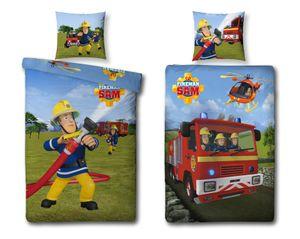 Biber/Flanell Bettwäsche Feuerwehrmann Sam, 135 x 200 cm 80 x 80 cm, 100% Baumwolle, 2 Motive auf einer Bettwäsche