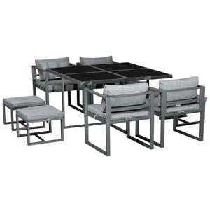 Outsunny Sitzgruppe Gartentischset Gartenmöbel Metall 9 teilig 4 Stühle 4 Hocker Tisch Esstisch Polyester Glas Grau