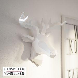 Hansmeier Hirschkopf | 42 x 41 cm | Weiß | Hirsch Wanddeko Geweih Wandskulptur Trophäe