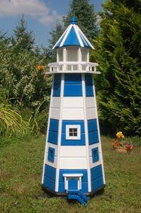 Wunderschöner großer XXL Leuchtturm aus Holz mit 230 V LED Beleuchtung 1,40 m, blau/weiss