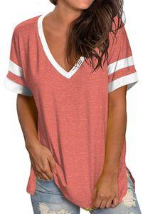 Damen V-Ausschnitt Kontrastfarbe Top T-Shirt Kurzarm Casual Sweatshirt,Farbe: Pink,Größe:3XL