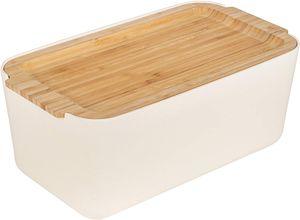ONVAYA® Brotkasten mit Schneidebrett | aus Bambus-Holz | Weiß Creme | Brotbox in stilvollem Design | 2 in 1: Brotbehälter mit Deckel als Unterlage zum Schneiden | Brotdose nachhaltig
