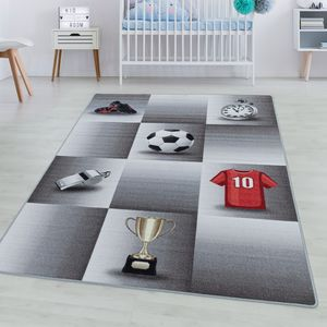 Kurzflor Teppich Kinderteppich Kinderzimmer Spiel Fussball Trikot Pokal Grau, Farbe:Grau, Grösse:140x200 cm