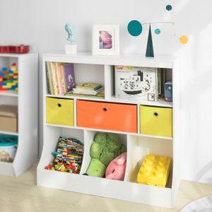 SoBuy KMB26-W Kinder Bücherregal Kinderregal mit 5 Ablagefächern und 3 Stoffboxen Spielzeugregal Aufbewahrungsregal für Kinder Spielzeug-Organizer Weiß