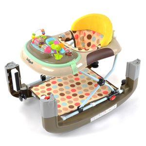 Daliya® BEBISTEP 4in1 Spiel- und Lauflernwagen - Gehfrei mit Schaukelfunktion Babywalker Lauflernwagen Laufhilfe Babywippe mit Musik- & Spielecenter & Esstisch - Braun