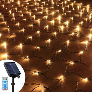 3x2M 204 LED Solar Lichternetz Lichtervorhang 8 Lichtmodi Außen Party Garten Lichterkette mit Fernbedienung, Warmweiß