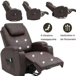 Massagesessel 360° drehbar Relaxsessel mit Wärmefunktion Fernsehsessel Liegefunktion TV Sessel Polstersessel Braun
