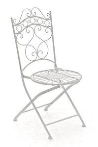 CLP Stuhl Indra handgefertigter Gartenstuhl aus Eisen, Farbe:antik weiß