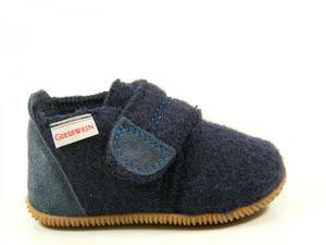 Giesswein 64-10-45200 Oberstaufen Baby Hausschuhe Hüttenschuhe Wolle , Größe:22, Farbe:Blau