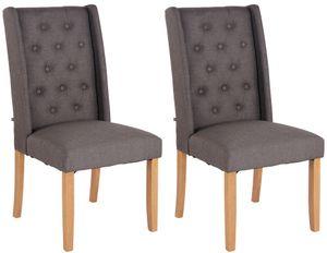 CLP 2er Set Esszimmerstuhl Malea Stoff mit Sitzpolster und Holzbeinen Gestell, Farbe:dunkelgrau, Gestell Farbe:Antik-hell