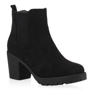 Mytrendshoe Damen Stiefeletten Blockabsatz Chelsea Boots Profilsohle 76870, Farbe: Schwarz, Größe: 39