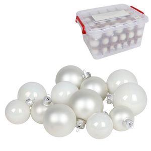 Glas-Weihnachtskugel-Set 72tlg + Box Weihnachtsbaumkugeln Christbaumschmuck Deko, Farben:weiß