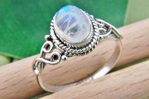 Mondstein Ring 925 Silber weiß (MRI 42-04),  Ringgröße:62 mm / Ø 19.7 mm
