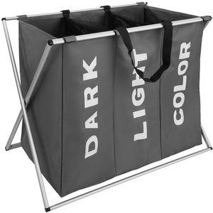 tectake Wäschesammler klappbar mit 3 Fächern - dunkelgrau