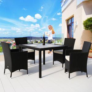 Casaria Poly Rattan 4+1 Sitzgarnitur stapelbare Stühle 7cm dicke Auflagen wetterfestes Polyrattan Gartenmöbel Sitzgruppe Garten Set