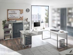 SUPERSET Büromöbel Office Luxo5 teiliges Komplett- Set mit Winkelschreibtisch, Rollcontainer, zwei halbhohen Regalen und einem halbhohen Schrank in Lichtgrau mit lackierten Graphit Glasfronten