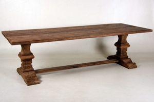 Casa Padrino Vintage Teak Esstisch Holzfarben Rustikal Massiv - Landhaus Stil Tisch Teakholz, Tisch Abmessungen:240 x 100 cm x 78 cm H