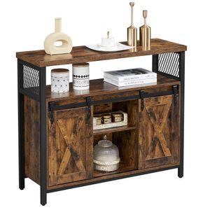 VASAGLE Sideboard, Küchenschrank, Aufbewahrungsschrank, mit 2 Schiebetüren, verstellbare Ablage, industriell vintagebraun-schwarz LSC092B01
