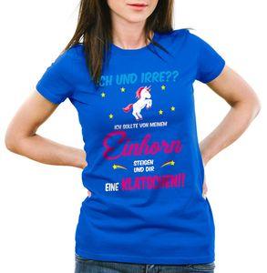 style3 ICH und IRRE? Einhorn absteigen klatschen Damen T-Shirt Einhörner Fun Spruch Mädchen Tochter jga, Farbe:Blau, Größe:XL