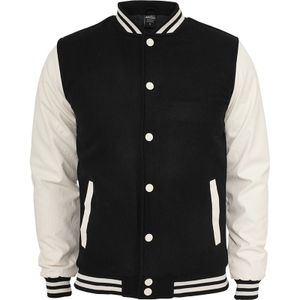 Urban Classics Oldschool College Jacket, Größe: L; Farbe: Black/White