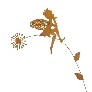 Stecker Elfe Fee Pusteblume Metall L41,5cm rost o weiß Garten Deko Pick Stab, Farbe:rost