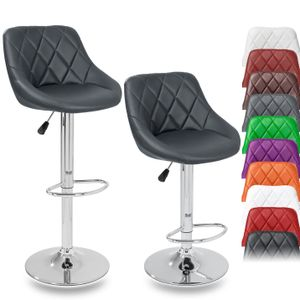 TRESKO 2er Set Barhocker Grau Barstuhl 360° Frei Drehbar Sitzhöhenverstellung 60-80cm