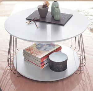 Couchtisch Vilnius 70-42 Weiß Matt Metall MDF Stubentisch Beistelltisch Tisch