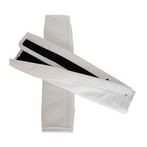 Gurtpolster Gurtschoner Gurtschutz 1 Paar 2 Stück Echtes Leder Farbe Weiß