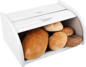 Creative Home Weiße Roll-Brotkasten aus Buchen-Holz | 40 x 27,5 x 18,5 cm | Perfekte Brot-Box für Brot, Brötchen und Kuchen | Brot-Kiste mit Roll-Deckel | Natürlich | Brotbehälter für jede Küche