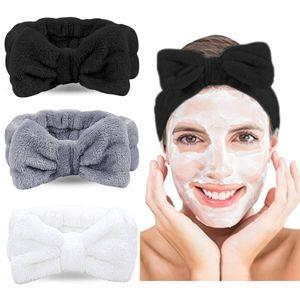 (weiß, grau, schwarz) Haarband 3er Set, kosmetik Stirnband für Damen, Koralle Make-up Stirnband, elastisch Haarband