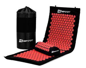 Hop-Sport Akupressur-Set XL extra lange Akupressurmatte mit Kissen zur Entspannung, Stimulation und Meditation + Transporttasche (rot)  - Rot