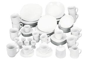 VAN WELL Kombiservice Atrium 62-tlg. aus Porzellan, Farbe Weiß