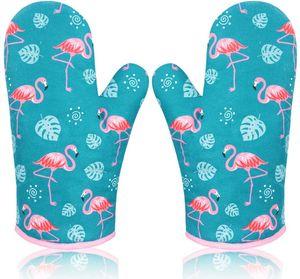 Ofenhandschuh Topfhandschuhe, Topflappen Handschuh Backhandschuhe Backofen Handschuhe Oven Gloves Oven Mitts Kochhandschuhe Backofenhandschuhe Küchenhandschuhe Flamingo 2 Pack Grün