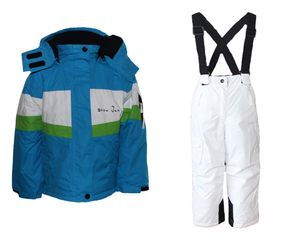 Mädchen Skianzug  Skihose Skijacke Snowboardhose Snowboardjackre Schneehose Türkis/Weiß 98/104