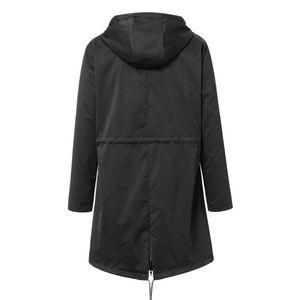 Frauen Solid Rain Jacke Outdoor Plus Size Wasserdichte Kapuze Winddichter lockerer Mantel Größe:5XL,Farbe:Schwarz