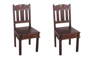 SIT Möbel Stuhl 2er-Set | recyceltes Altholz | mit aufwändigen Schnitzereien | B 45 x T 45 x H 95 cm | 05112-30 | Serie ALMIRAH