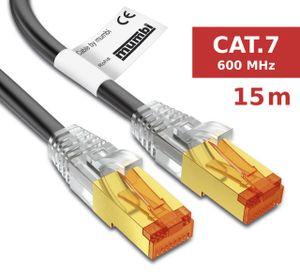 mumbi LAN Kabel 15m CAT 7 Rohkabel Netzwerkkabel S/FTP PimF CAT7 Rohkabel Ethernet Kabel Patchkabel RJ45 15Meter, schwarz