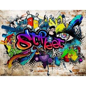 Graffiti Steinwand 9218b RUNA Graffiti Steinwand VLIES FOTOTAPETE XXL DEKORATION TAPETE− WANDDEKO 308 x 220 cm