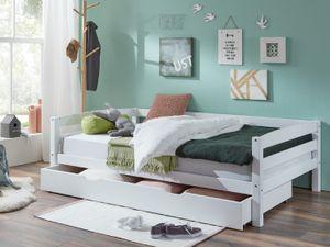 Kinderbett Nora mit Bettkasten 120x200 cm Buche massiv weiß lackiert