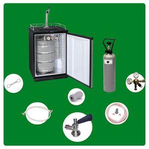 Komplett Set - Fassbierkühlschrank bis zu 50L Fässer (Bierbar) - inkl. Schanksäule Elegant und Kompensatorhahn, Zapfkopf:Flach