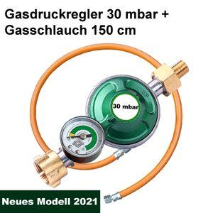 Gasregler Druckminderer 30 mbar Druckregler Camping Manometer Schlauch 150cm für Gasflasche, Gaskocher, Gasgrill